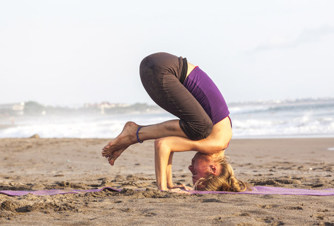 Woman upside down